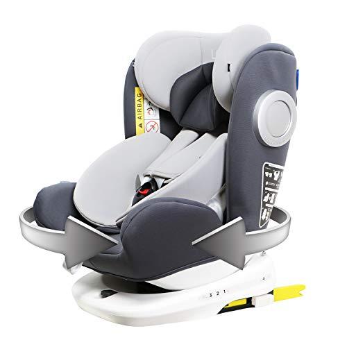 LETTAS Baby Autositz 360° drehbar Gruppe 0+1/2/3 (0-36 kg/0-12 Year) mit Protektoren seitliche Isofix Top Tether ECE R44/04 (Grau)