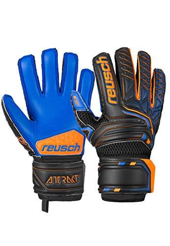 Reusch Guanti da portiere unisex Attrakt S1 Junior con caratteristiche super morbide Blck/Shock. Arancione/Deep B, 6,5