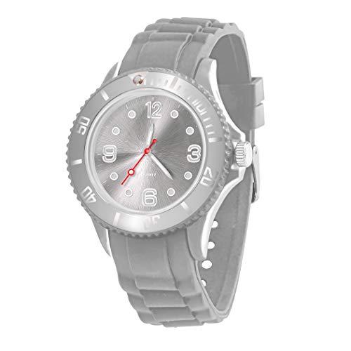 Taffstyle Farbige Sportuhr Armbanduhr Silikon Sport Watch Damen Herren Kinder Analog Quarz Uhr 43mm Grau