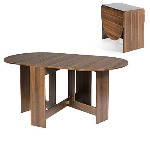 CASART Drop Leaf Dining Table, Wooden Folding Kitchen Tables, Small Space Saving Extending Writing Desk Workstation for Dining, Studying and Working