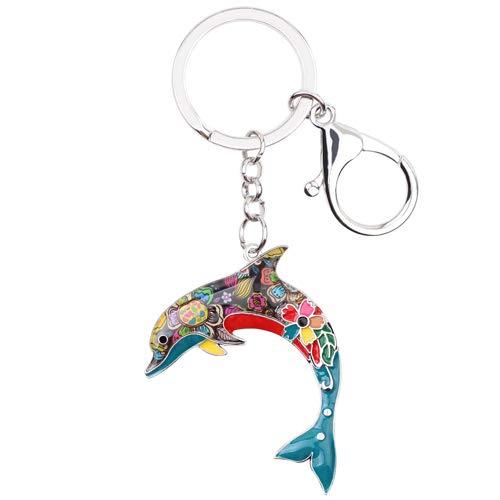 GPZEDCDB Schlüsselanhänger Schlüsselring Emaille Metall Erklärung Delphin Schlüsselanhänger Ring Für Frauen Handtasche Charme Schlüsselanhänger Ozean Tier Schmuck Zubehör