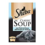Sheba Classic Soup - Comida para Gato con filetes de Pescado del océano y Verduras, 4 x 40 g, 12 Paquetes (48 bolsitas en Total)