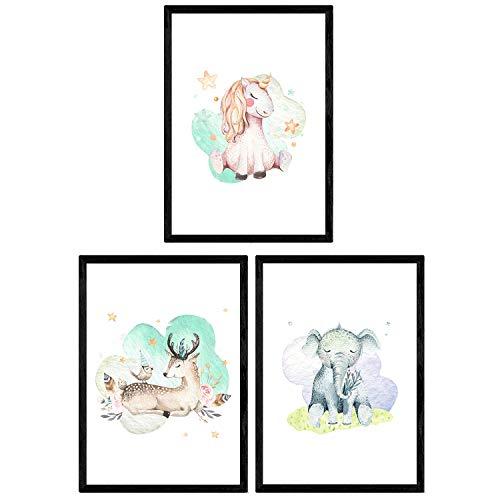 Pak van drie vellen met afbeeldingen van dieren. Poster met kinderfoto's van kinderen. Hertenolifant en eenhoorn. A3-formaat zonder lijst