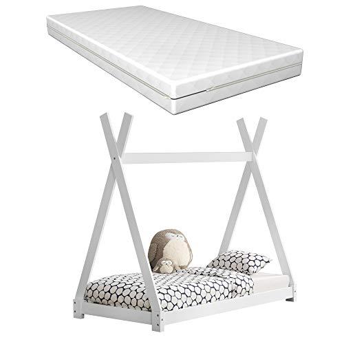 [Neu.Haus] Cama para niños con colchón Espuma fría 80 x 160 cm Adecuado para Personas alérgicas Textil de Confianza Certificado Oeko-Tex 100 Blanco