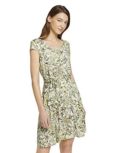 TOM TAILOR Damen 1026052 Basic Kleid, 26974-Green Paisley Design, 46