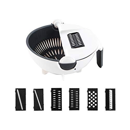 Dubbelskikt Mandolinskivare och rivare, multifunktion roterbar vegetabilisk skiktare för kök matlagning, 6 skarpa blad Vegetabiliska Chopper Manual, lätt att rengöra (Color : White)