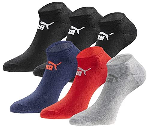 PUMA Sneakersocken 18 Paar Pack Statement Edition - Damen & Herren - Black-Blue-Red-Grey Season - Gr. 43-46