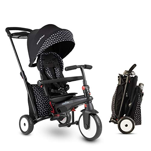 SmarTrike STR5 - Triciclo Plegable para niños con Certificado para Cochecito de 1,2,3 años, Triciclo de Varios Pasos 7 en 1 (Negro y Blanco)