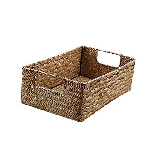 ECSWP Tessuti a Mano alghe Bagagli Carrello Household Sundries Rettangolare Organizzatore Storage Box Basket organizzatore for la casa Abbigliamento