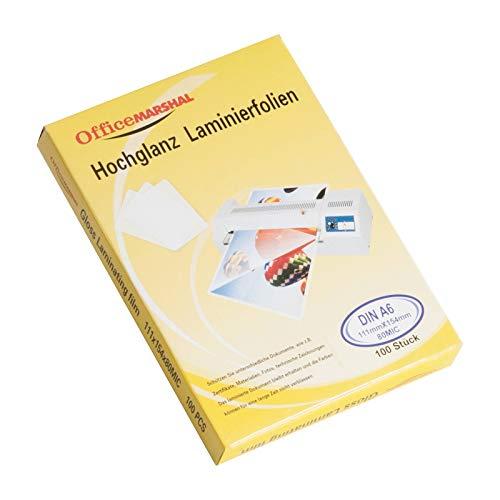 OfficeMarshal® Hochglanz Laminierfolien - 15 Sorten wählbar - 100 Stück, Markenqualität