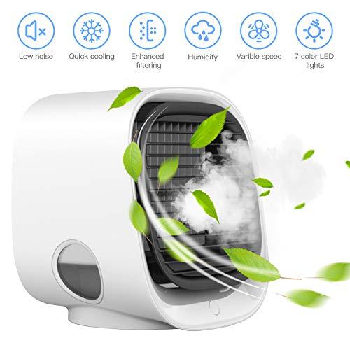HebyTinco Persönliche Luftkühler Mini tragbare Klimaanlage Lüfter Desktop Raum Kühler persönliche USB Tisch Fan kleine Verdunstung Kühler Luftbefeuchter – Kühler für Heim, Büro, Camping, auf Reisen