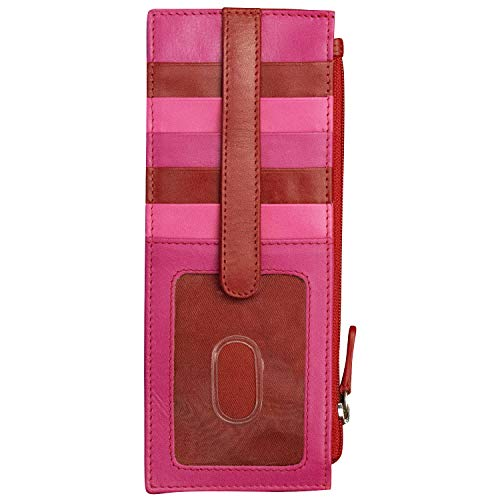 ili New York 7800 Leather Card Holder with RFID Blocking Lining (Rouge)
