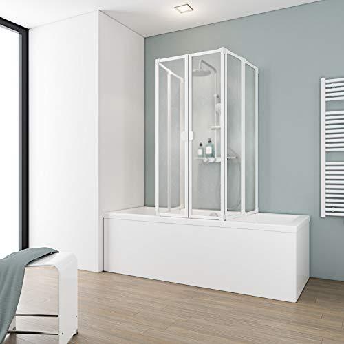 Schulte Duschabtrennung faltbar für Badewanne 70 - 80 cm, einfacher Aufbau, Kunstglas Softline hell, alpinweiß, langlebig, D1700 04 01