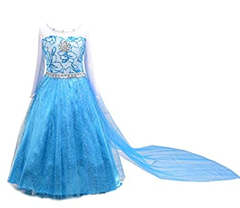 Dressy Daisy Girls  Ice Princess Costume Dresses Birthday Halloween Christmas Fancy Party Outfit Long Detachable Train Size 6