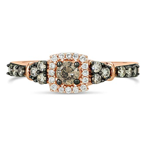 LeVian 14K Rose Gold 1/2 Cttw White/Chocolate Diamond Cushion Shaped Halo Fashion Ring (G-H & Fancy Brown Color, VS2-SI1 Clarity) - Size 7