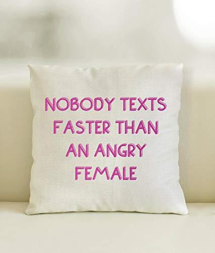 43LenaJon Fundas de almohada de lino y algodón que nadie envía mensajes más rápido que un cojín de dispersión femenino, decoración del hogar