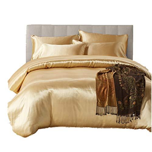 3 Stück Luxuriös Bettbezüge Feuchtigkeitsfest Europäischer Stil Nachgemachte Seide Bettwäsche mit 2 Kissen Frühling Sommer Herbst Winter Einfarbig (Golden, 135 x 200 cm)