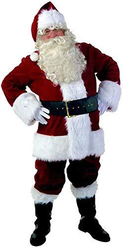 VERNASSA Costume da Babbo Natale da Uomo,Costume da Babbo Natale in Velluto per Adulti con Vestito Operato da Natale