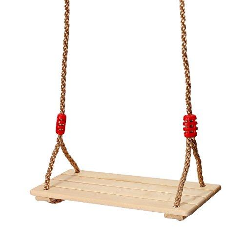 KING DO WAY Columpio para niños, columpio para niños y adultos, juguetes divertidos, cuerda ajustable y asiento de madera