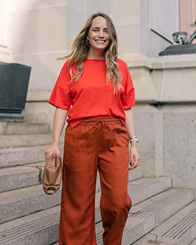 The Drop Women's Fiery Orange Drop Shoulder Tee With Side Slits by @graceatwood