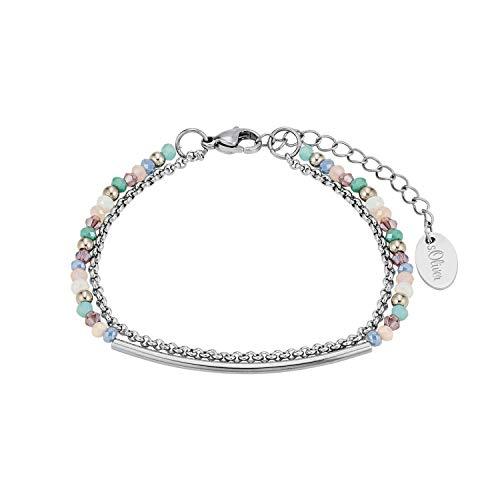 s.Oliver Mehrreihige Gliederarmkette für Damen mit versch. Glassteinen