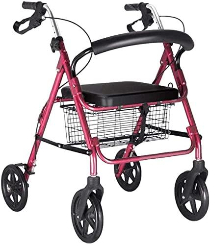 WXking Auto-propulsado Caminante estándar Trolley Anciano Walker multifunción con Cuatro Ruedas con Caminante Plegable con Frenos de Mano Walker Regalo