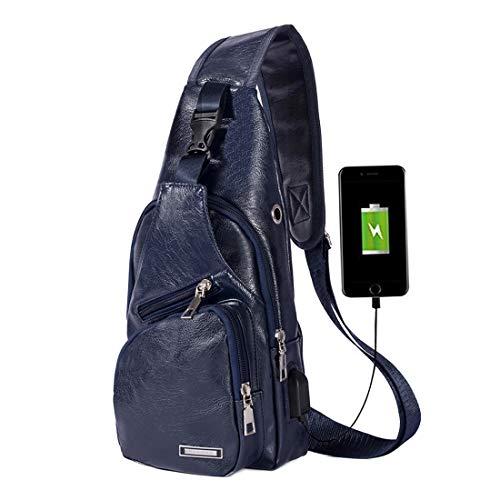 Men's Leather Sling Bag Chest Shoulder Backpack Crossbody Bag with USB Charging Port Dark Blue
