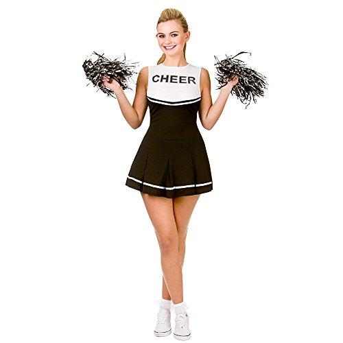 Wicked Costumes Cheerleader (Schwarz-Weiss) - Kostüm für Erwachsene: M (EU 42-44)