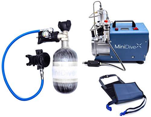 MiniDive Mini Duikfles 1.1 L Blauwe Koolstof Duikfles Met Hoge Druk Compressor En Houdend Harnas I Onderwater Ademhalingsuitrusting Unisex