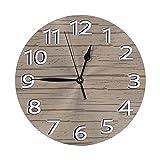 Reloj de Pared Redondo Reloj de Escritorio Moderno Reloj Colgante clásico Que no Hace tictac para la Oficina de la Escuela en casa,Patrón de Madera a la Deriva