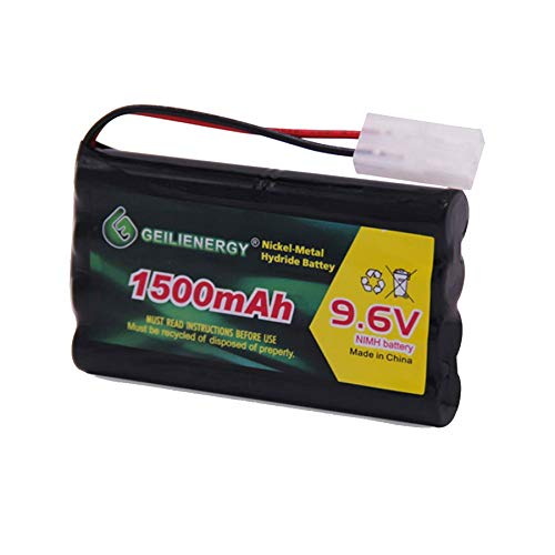 GEILIENERGY NiMH Battery Pack 9.6V 1500mAh High Capacity Rechargeable RC Battery with Standard Tamiya Connector for RC Car, Robots and OTC Genisys 239180 & EVO Scanner(1 Pack)