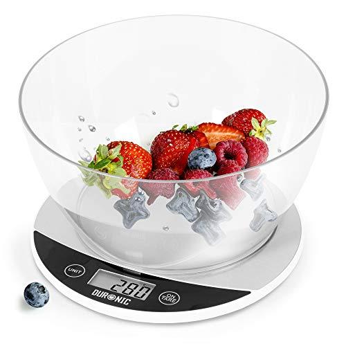 Duronic KS3000 Bilancia da cucina | Bilancia ad alta precisione con display digitale | Portata 1g / 5 kg con ciotola da 1,5 l | Piattaforma argento e bianca | Funzione Tara | Ideale per cucina e pasticceria
