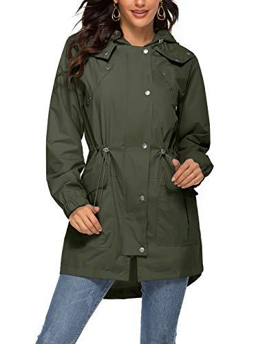 Romanstii Windproof Jacket Women Lightweight Waterproof Raincoat with Hood Outdoor Travel,Army Green Waterproof Rain Jacket,Medium