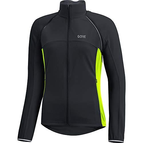 GORE Wear Damen Winddichte Fahrradjacke, Abnehmbare Ärmel, C3 Women GORE WINDSTOPPER Phantom Zip-Off Jacket, 34, Schwarz/Neon-Gelb, 100191