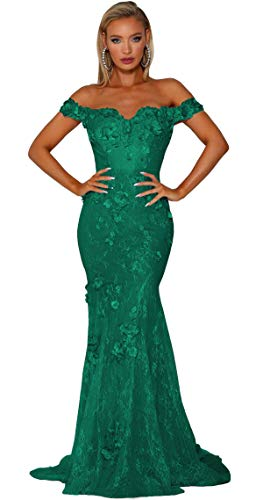 Uryouthstyle Off The Shoulder Mermaid Prom Dresses Lace Long Floral Evening Gowns Formal green-18 (Apparel)