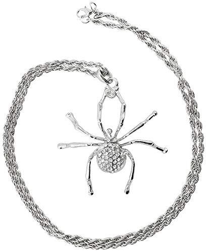 COM-FOUR® ketting met spinnen hanger in zilver met strass steentjes, ketting voor carnaval, carnaval of Halloween (Spin - zilverkleurig)
