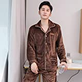 Handaxian Pijama de Franela para Hombres, Modelos Abiertos Simples de otoño e Invierno, Servicio de hogar Coral Polar