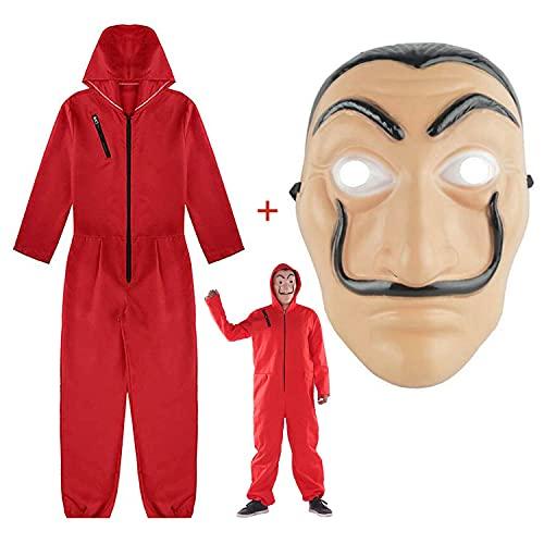 Costume La Casa De Papel, Abito Adulto in Sala di Carta di Lino Rosso, casa di Carta per Costume da Ladro Costume da Festa in Maschera di Halloween (codice L