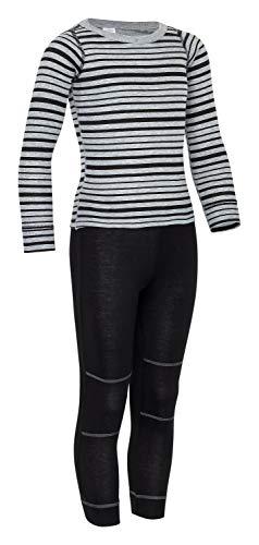 icefeld® - atmungsaktives Thermo-Unterwäsche Set für Kinder - warme Wäsche aus langärmligem Oberteil + Langer Unterhose (ÖkoTex100) in schwarz/grau gestreift 122/128