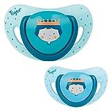 Tigex 80602239 ciuccio per bambino Ciuccio classico Rotondo Silicone Blu, Giallo