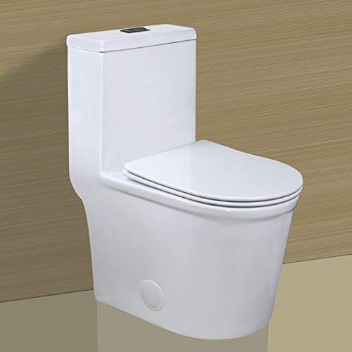"""WinZo WZ5069 Small Modern Compact One Piece Toilet 23""""x15""""x29"""" High Efficiency Dual Flush 12"""" rough-in for Tiny Bathroom White"""