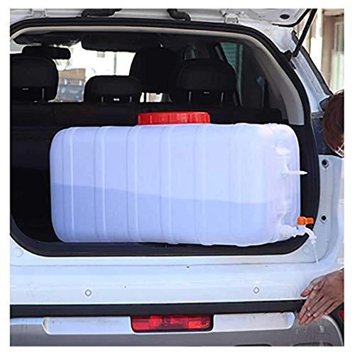 ZLZGZ Contenedor de agua portátil con grifo para acampar almacenamiento de agua jarra para actividades al aire libre, senderismo, huracán, cantina de agua de emergencia, color blanco, 25 L horizontal