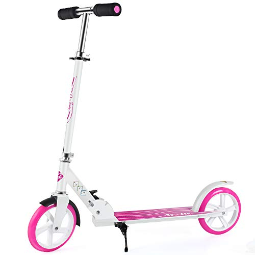BELEEV Scooters for Kids 8 Years and up, Foldable Kick Scooter 2 Wheel, Quick-Release Folding System, 3 Adjustable Height, Large 200mm Wheels Great Scooters for Adults and Teens (White-Pink)
