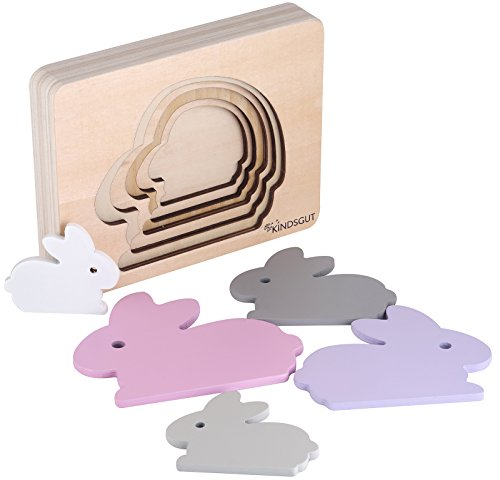 Kindsgut Tier-Puzzle, Lagen-Puzzle, Motorik-Spielzeug aus Holz, praktische Größe für zuhause und unterwegs, Hase