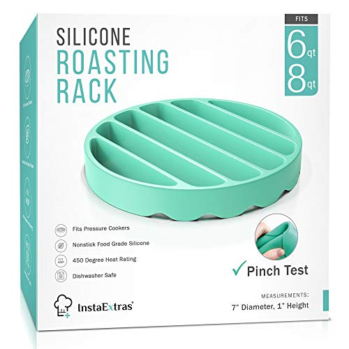 Silicone Roasting Rack For Pressure Cooker - Round Silicon Roasting Accessories Compatible With Oven, Crock Pot, Instant Pot 6 Qt And 8 Quart - Trivet Roaster Insert Racks For Cooking Meat, Baking