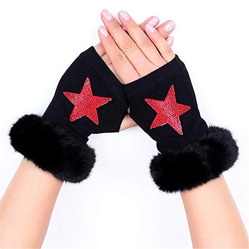 HYNL glovesNew Lady Strass Fingerless Gloves Damen Herren Sparkling Knitted Girl Boy Schwarz Wolle Half Finger Computer Mitts Warm   3