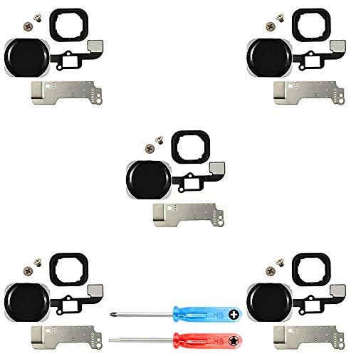 MMOBIEL Paquete de 5 Repuesto Botón de Inicio Home Compatible con iPhone 6/6 Plus (Negro/Spacegrey) Inc Destornilladores