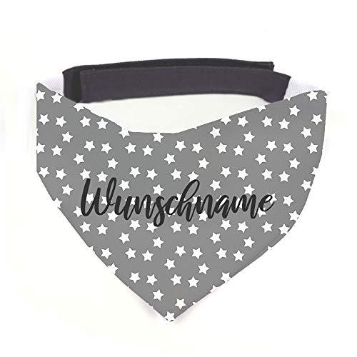 Hundehalstuch mit Namen Vintage Sterne grau personalisiert inklusive Wunschname z.B. Name Ihres Hundes mit 12 cm Klettverschluss für kleine, mittlere und große Hunde (S = Halsumfang: 32-38 cm)