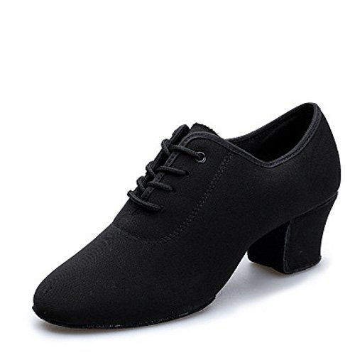 DLisiting Latin Dance Shoes Womens Black Oxford Cloth Ballroom Modern Dance Shoes (US7)