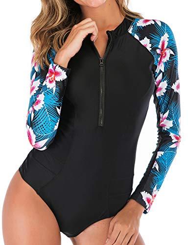 ZAFUAZ Damen Badeanzug Surfanzug UV-Schutz Bademode Draht Frei Gepolsterter BH Wassersport Badeanzug (AB-22, XXL)